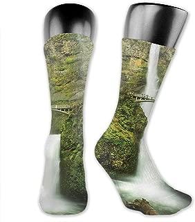 Compression Medium Calf Socks,Hand-Drawn Curvy Lines Abstract Interlacing Design With Hearts And Drop Shapes
