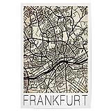 artboxONE Poster 30x20 cm Städte Retro Map Frankfurt City