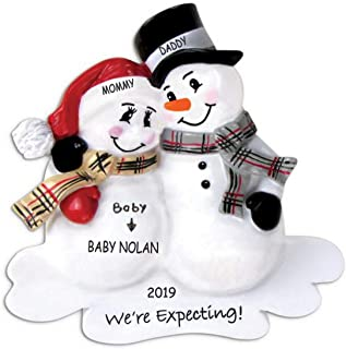 DIBSIES Personalized We're Expecting Snowman Family Christmas Ornament (Family of 3)
