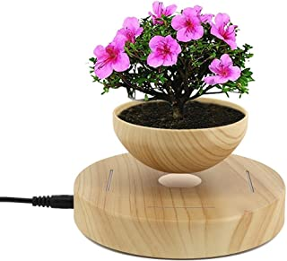 E-18th LED Levitating Air Bonsai Pot Magnetic Levitation Suspension Flower Floating Pot Potted Plant Levitating Plant Pot for Display Decoration(Plant Pot Size, Height: 35mm, Diameter: 80mm)