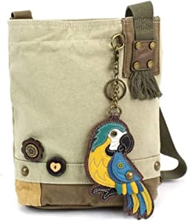 Patch Cross-Body Women Handbag, Sand Color Canvas Messenger Bag