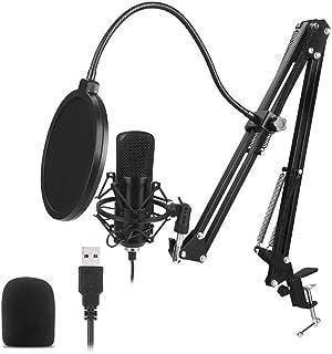 Mainstayae USB Microphone Kit 192KHZ/24BIT Professional Podcast Condenser Mic for PC Karaoke Studio Recording Mic Kit with...