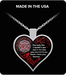Firefighter Wife Jewelry Necklace - Fire You Started in My Heart - Firefighters Firefight Charm Pendant for Women Proud