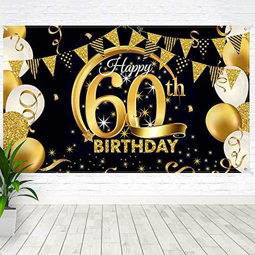 BOYATONG 60. Geburtstag Dekoration Schwarz Gold, Extra Große Stoff Schild Poster zum 60. Jahrestag Foto Stand Hintergrund Banner, 60 Jahre Geburtstag Party Lieferung für Frau Mann