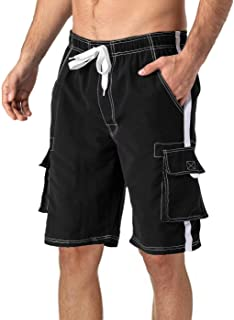 MAGCOMSEN Men's Swim Trunks with Mesh Liner 4 Pockets Quick Dry Beachwear Swimuits Board Shorts