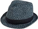styleBREAKER klassischer Trilby Hut in Melange Optik mit Krempe, Papierhut, Strohhut, Unisex 04025018, Farbe:Navy;Größe:S/M = 56 cm