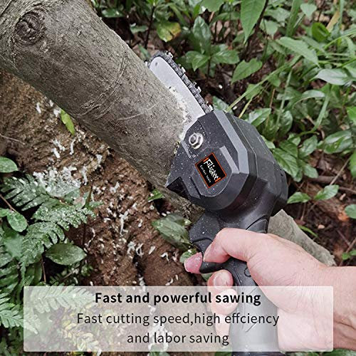 FiLiGRee Mini Chainsaw, 4 Inch Cordless Electric Portable Battery Chain Saw with 2Pcs Rechargeable Battery and 2Pcs Chain, 0.7kg Lightweight Electric saws for Tree Branch Wood Cutting