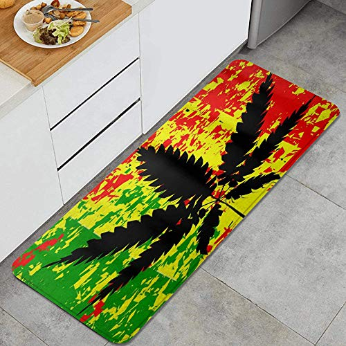 LOSNINA Tapis et Tapis de Cuisine Salpicadura de Tinta Colorida de Hoja de Marihuana Negra, Noin-SLP Comfort Floor Mats alfombras para Cocina, Oficina, Felpudo, Corredor