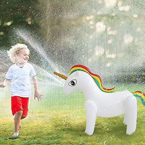 AChalks 36zoll Aufblasbarer Unicorn Sprenger Garten Draussen Splash Einhorn Unicorn Wassersprinkler...
