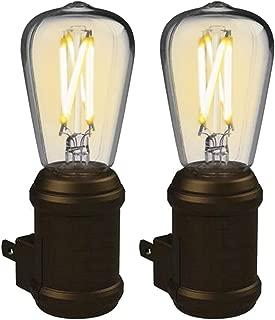 Westek Vintage Night Light by Amertac, 2 Pack - Bronze LED Edison Night Light - Plug-in Decorative Night Light with a Stunning Old-Fashioned Design - Dusk to Dawn Nightlight, Plastic Casing, 8 Lumens