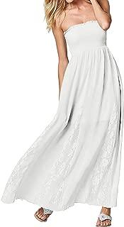 Women's Strapless Off Shoulder Ruffles Crochet Loose Beach Casual Party Maxi Cami Long Dress