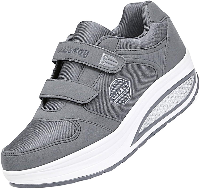 KUIBU Women Warm Winter All-Match Slip-On Non-Slip Platform PU High Heel Sneaker Athletic Toning shoes