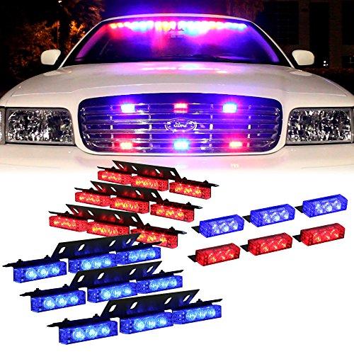Blue Red 54X LED Dash Deck Visor Grille Strobe Lights for Police Vehicles - Flashing Emergency Warning Police Lights