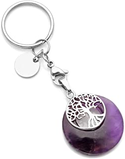 CrystalTears Tree of Life Silver Charms Keychain Amethyst Healing Crystal Chakra Pendant for Womens Mens