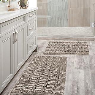 Chenille Bath Mat Non Slip Bath Mat Set for Bathroom Extra Thick Soft Striped Bath Rug Water Absorbent Shag Carpet for Bat...