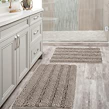 Chenille Bath Mat Non Slip Bath Mat Set for Bathroom Extra Thick Soft Striped Bath Rug Water Absorbent Shag Carpet for Ind...