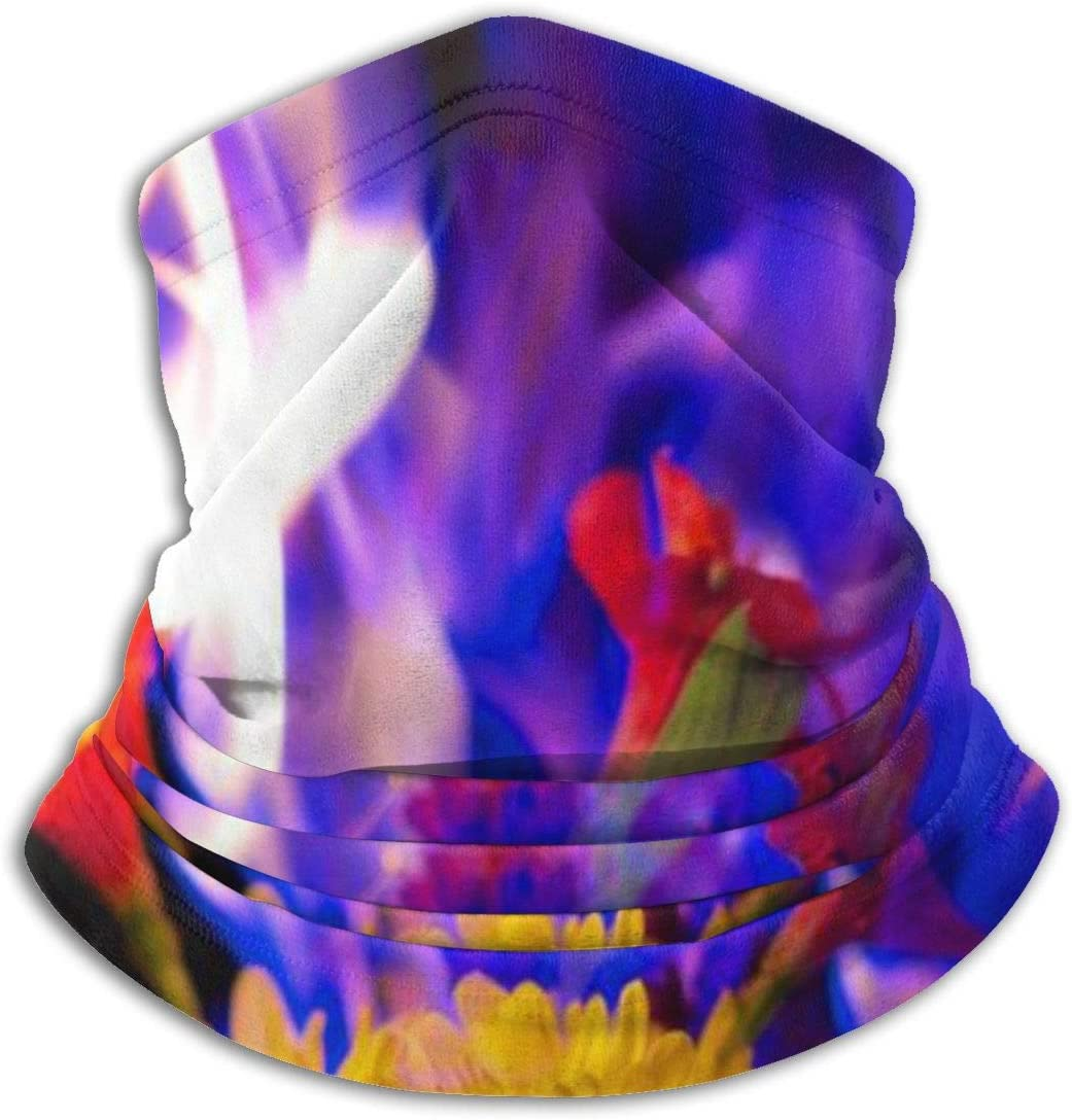 CLERO& Scarf Fleece Neck Warmer Flowers Blue Fire Flaming Windproof Winter Neck Gaiter Cold Weather Face Mask for Men Women