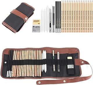 28 Pcs Juego de Lápices Profesionales de Dibujo Gráfico de Bosquejo Boceto, Set de Lápiz de Carbón y Accesorios con Bolsa ...