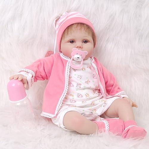 HOOMAI Niedlich 22inch 5cm Reborn Baby Puppe Weiß Silikon Magnetisch Mund Sch  Naturgetreue mädchen Rosa Zubeh Echt Geschenk