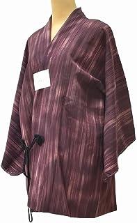 着物 コート 中古 リサイクル 化繊 道中着 縞文様 躾付 裄65.6cm はおり 紫系 裄Mサイズ jj2746c