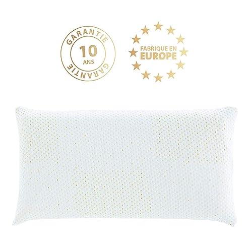 ZenPur - Oreiller Gold de Luxe Confort Suprême Premium Orthopédique & Ergonomique + Housse en Céramique + Fibre d'Or Anti-Acariens 100% Visco-Elastique + Charbon Actif - Accepte une taie de 70x50cm.