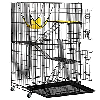 Topeakmart Large 3-Tier Metal Wire Cat Kitten Cage Crate Playpen Home on Wheels Indoor Outdoor w/ 3X Ramp Ladders/Platforms Beds/1x Hammock for Ferret Chinchilla Black