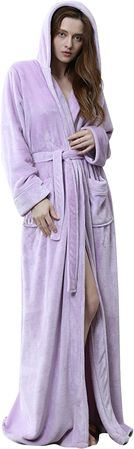 Flygo Womens New arrival Fuzzy Plush Long Hooded Fl Robe Full Length Max 82% OFF Flannel