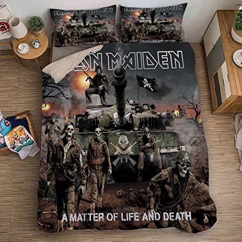 XKNSYMRL Nordico Cama 150X200, Iron Maiden Impresión Digital 3D Fundas De Edredon,...