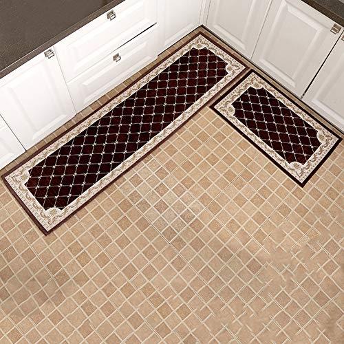 HYHY Alfombra de Cocina de 2 uds para Suelo, Alfombra de baño Antideslizante a Cuadros Retro, Alfombra de Puerta de Entrada para Sala de Estar, alfombras de Dormitorio, alfombras de Cocina