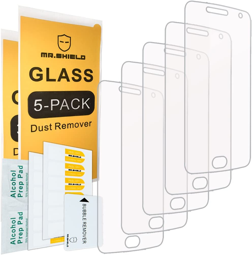 [5-PACK]- Mr.Shield Designed For Motorola Moto G5 Plus/Moto G Plus (5th Generation) [Tempered Glass] Screen Protector [0.3mm Ultra Thin 9H Hardness 2.5D Round Edge] with Lifetime Replacement