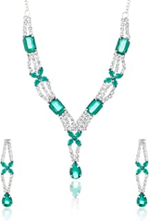 Mahi Rhodium Plated Asscher Necklace Set of Alloy Brass with Green Austrian Crystals for Women NL4101011Gre