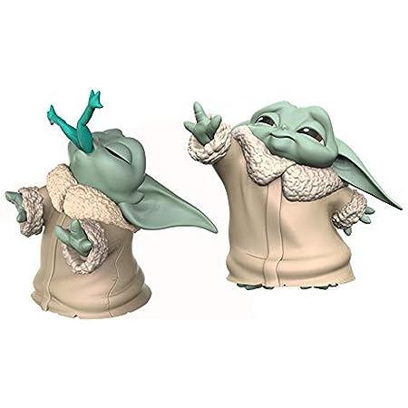 STAR WARS The Bounty Collection The Child - The Mandalorian - Empaque de 2 Figuras Baby Yoda merienda de Rana y usando la Fuerza - 5,5 cm