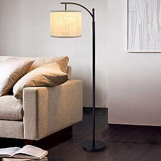 Depuley Lampadaire sur Pied Salon Moderne , Lampe à Pied de Chevet Chambre E27 avec Abat-jour Tissu Lin, Lampadaire Réglab...