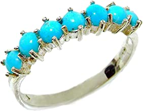 925 Sterling Silver Real Genuine Turquoise Womens Eternity Ring