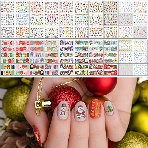 TailaiMei 60 Sheets Christmas Nail Art Decals, Water Transfer Winter Full Nail Wrap Decorations, Stickers Design for Santa Claus Snowflake Snowman (1028 Pcs)