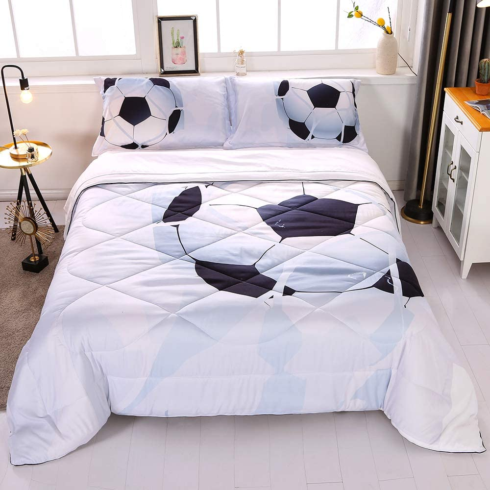 Wowelife Soccer Comforter Free Shipping New Set Twin Special price for a limited time Bed 5 Piece White