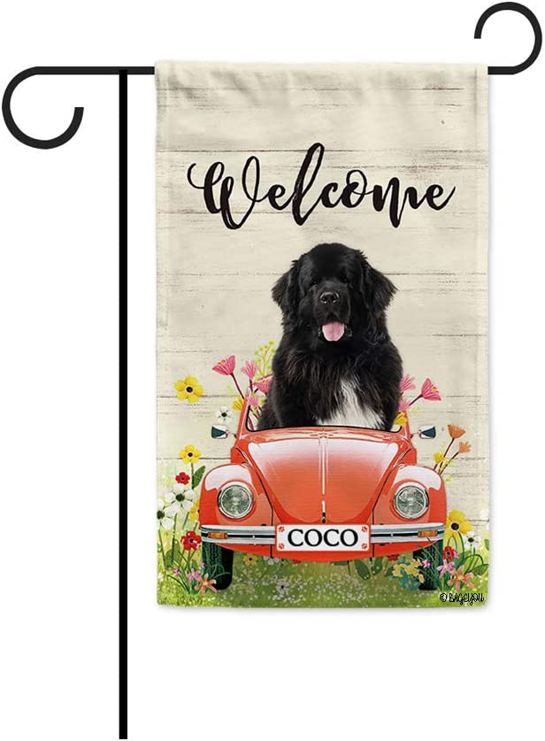 BAGEYOU Custom Name Welcome Spring Dog Garden Flag Lovely Newfoundland Driving a Vintage Car Summer Flowers and Lawn Decor Home Banner for Outside 12.5x18 Inch Print Both Sides
