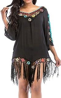 comprar comparacion Luckycat Traje de baño de Playa Cubrir Crochet Vestido de Playa Abrigo de baño Vestido de Playa con Borla