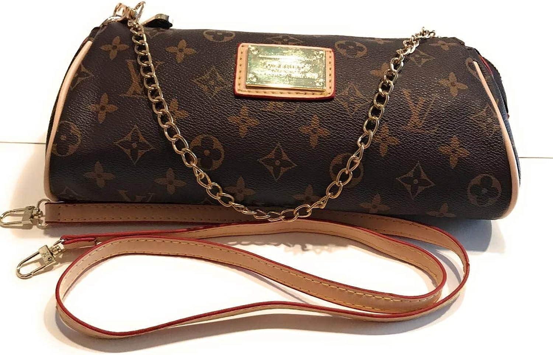 Women's Canvas Pochette Monogram Doubluese Chain Flap Bag Small Crossbody Bag Shoulder Bag