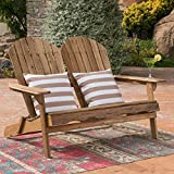 Christopher Knight Home 304032 Muriel Outdoor Natural Finish Acacia Wood Adirondack Loveseat, Stained