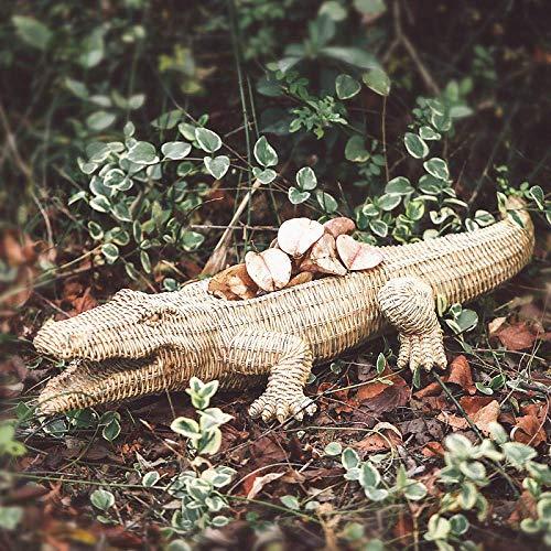 QULONG Crocodile Flower Pot Planter Woven Effect Resin Animal Statue Home Office Garden Decor
