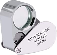 beileshi 30X Illuminated Jeweler 2 LED Light Lens Loupe Magnifier with Metal Construction and Optical Glass with a Durable and Sturdy Travel Carrying Case