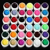 Lot de 36 peintures transparentes de couleurs variées en gel UV pour décorations sur ongles à faire soi-même