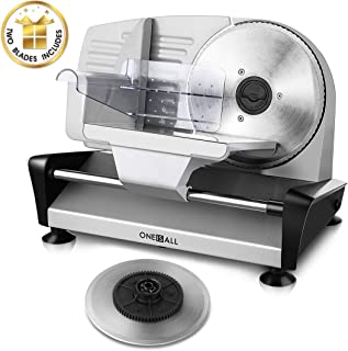 Meat Slicer Electric Deli Food Slicer with 2 Interchangeable Blades, Oneisall Removable 7.5'' Stainless Steel Blade & Food Carriage, Precisely Adjustable Thickness Cuts Meat, Non-Slip Feet (150W)