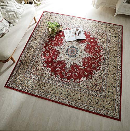 グラムスタイル ペルシャ 絨毯風 洗える ラグ カーペット 1.5畳 130x190cm レッド