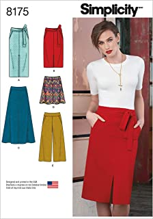 Simplicity 8175 Skirt Tie-Belt, and Pants Sewing Pattern for Women, Sizes R5 (14-22).