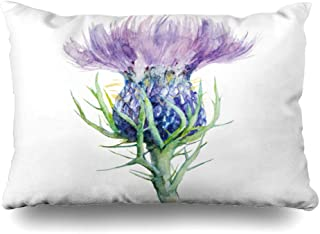 Ahawoso Decorative Throw Pillow Cover King 20x36 Purple Scottish Milk Thistle Flower Watercolor Painting Hand Nature Liver Scotland Drawing Ink Garden Zippered Pillowcase Home Decor Cushion Case