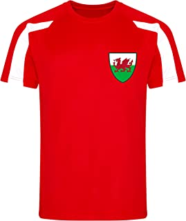 Mens Wales Football Team Contrast T-Shirt Adults Welsh Dragon European Cup Jersey Tee Top
