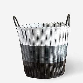 Laundry Basket LF Panier de rangement pour vêtements sales, panier de rangement en plastique rotin (couleur : blanc, gris,...