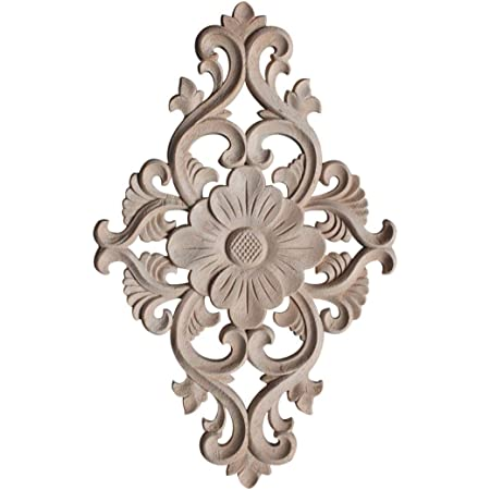 4PCS Wood Carved Onlay Applique Woodcarving Corner Decal Home Furniture Dec Home